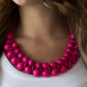Fuschia Pink Wood Bead Necklace